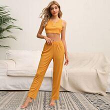 Strick Crop Schlafanzug Set