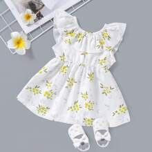 Baby Girl Floral Print Ruffle A-line Dress