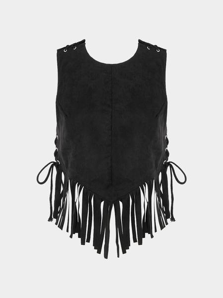 Yoins Black Open Back Lace-up Design Tassel Cami Top