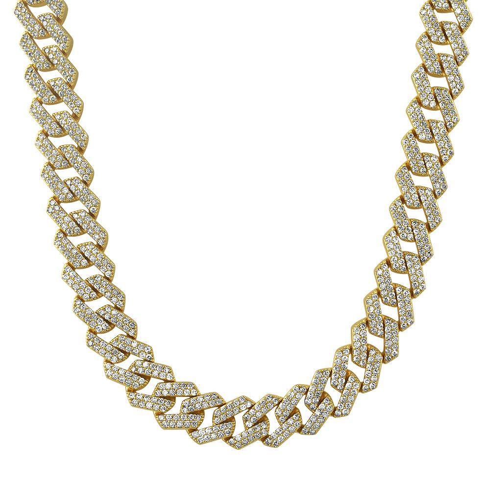 Turkish Cuban Bling Bling Chain 14MM White / Yellow Gold