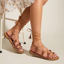 Toe Loop Tassel Decor Tie Leg Sandals