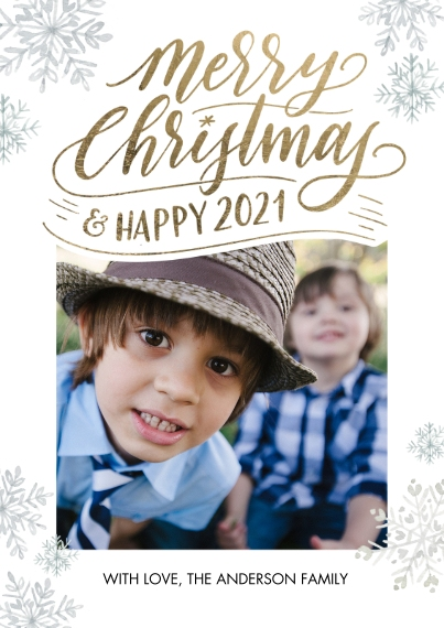 Christmas Photo Cards 5x7 Cards, Premium Cardstock 120lb with Scalloped Corners, Card & Stationery -Christmas and Happy 2021 by Tumbalina