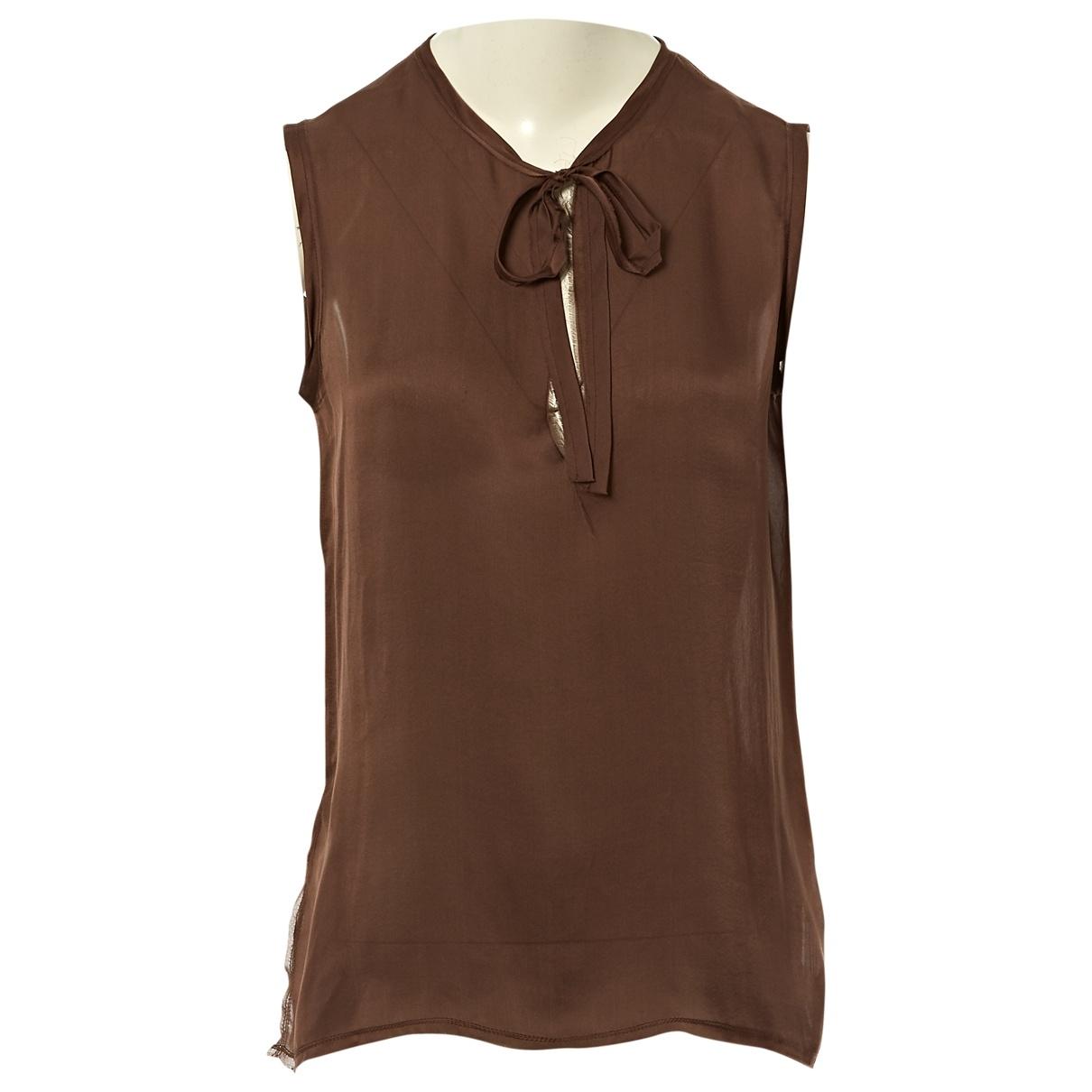 Lanvin \N Brown Silk  top for Women 40 FR