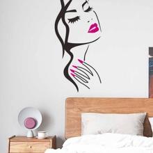 Pegatina de pared con estampado de niña bella