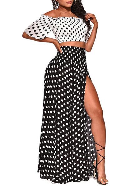 Milanoo Conjuntos de dos piezas Blusa casual plisada de lunares con cuello barco sin tirantes de poliester blanco con vestido dividido alto