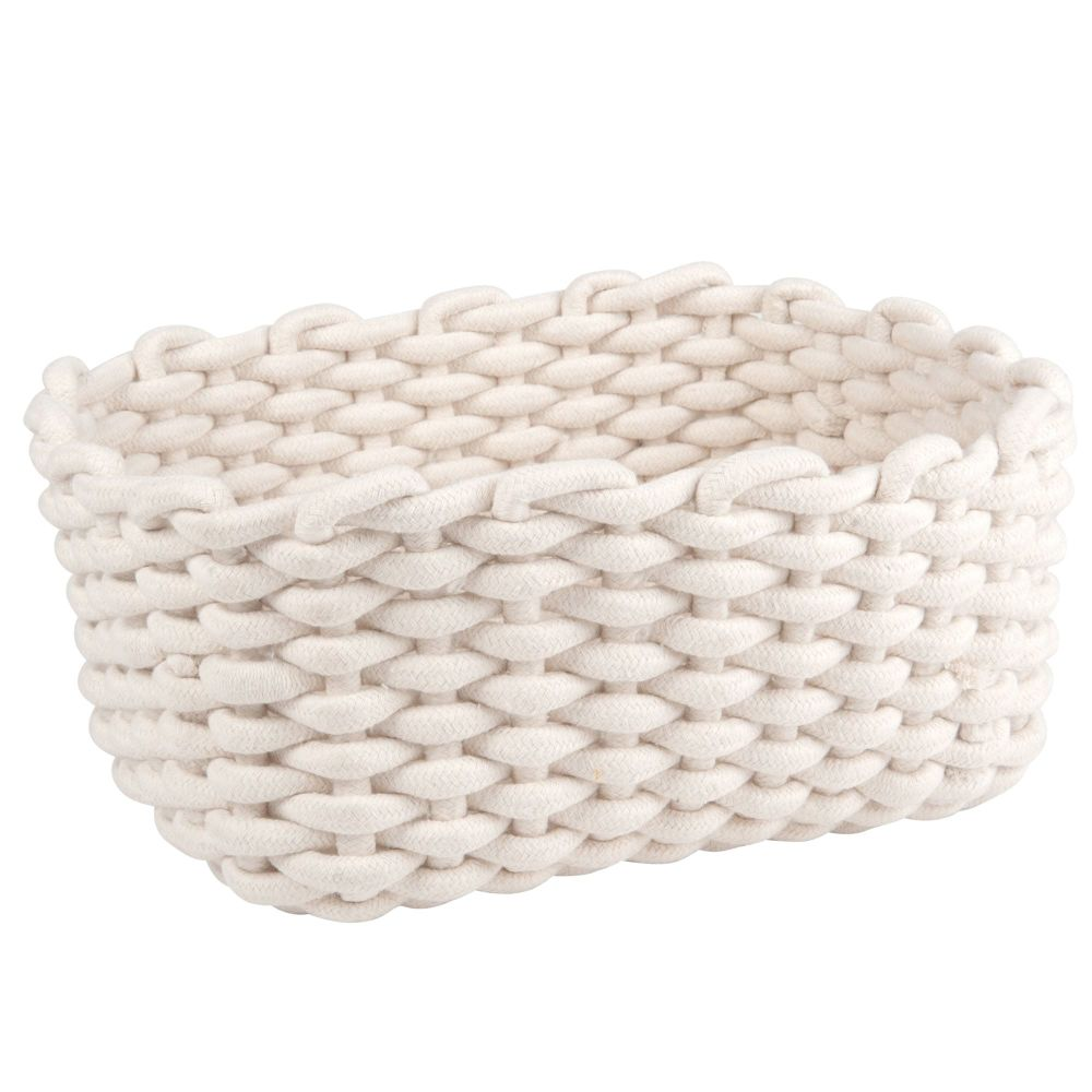 Rechteckiger Korb aus Baumwolle, weiss