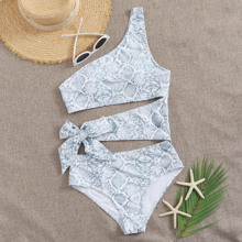Snakeskin Cut-out One Shoulder One Piece Swimsuit