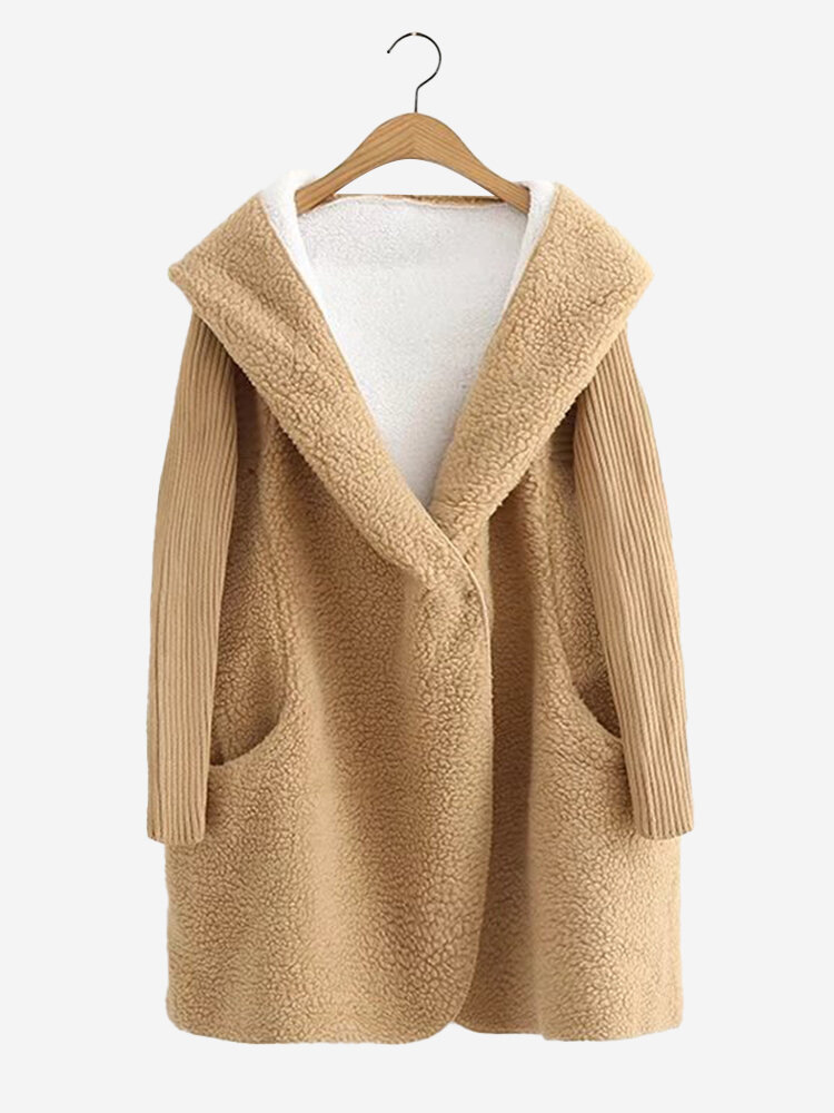 Casual Pure Color Hooded Patchwork Long Sleeve Women Plush Coats