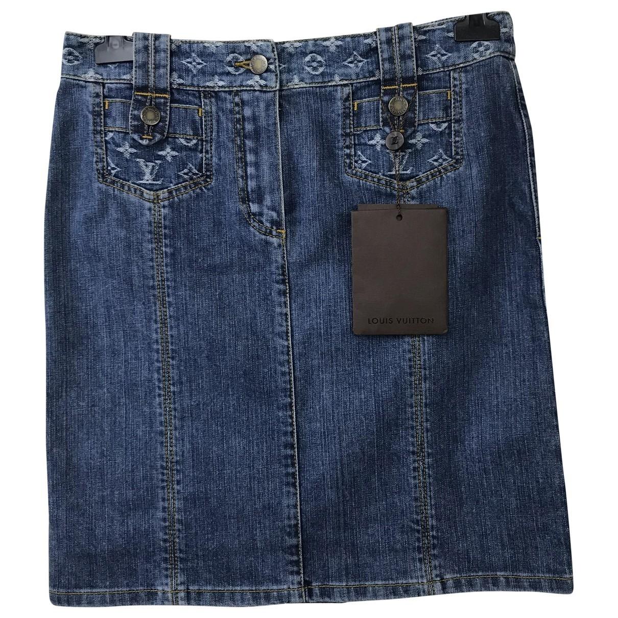 Louis Vuitton \N Blue Cotton - elasthane skirt for Women 38 FR