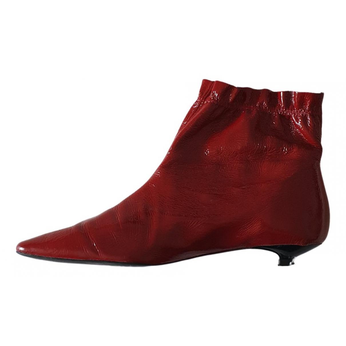 Zara \N Stiefeletten in  Rot Lackleder