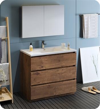 Lazzaro Collection FVN9342RW 42 Rosewood Free Standing Modern Bathroom Vanity with Medicine