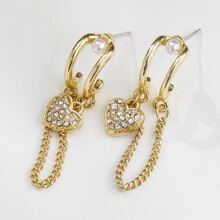 Rhinestone Heart & Chain Drop Earrings