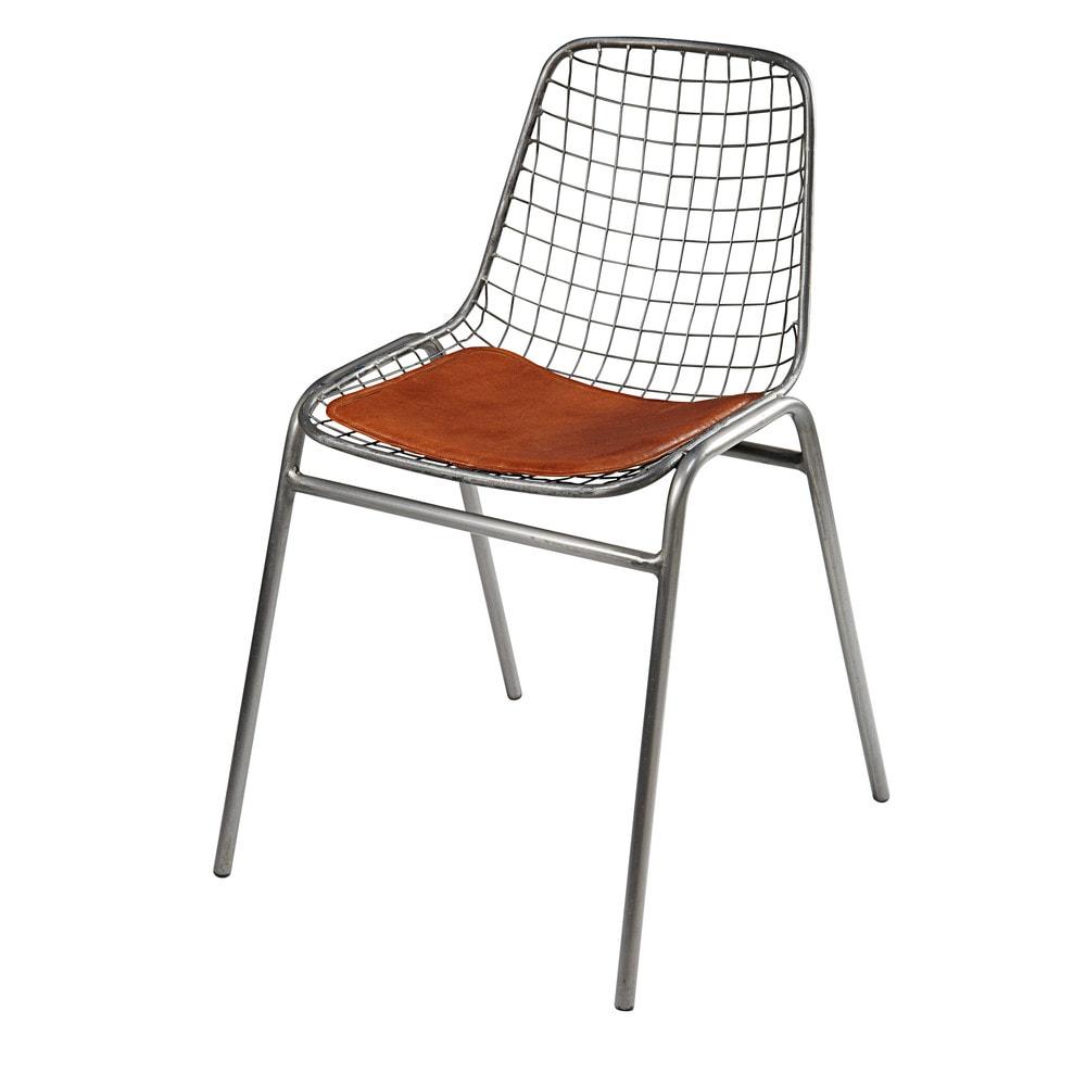 Stuhl aus Metall und camelfarbenem Vachetteleder Picpus