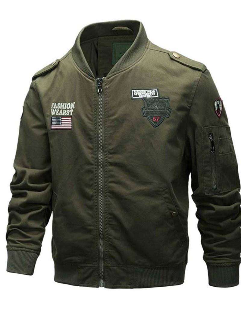 Ericdress Zipper Stand Collar Color Block Slim Style Men's Jacket