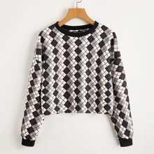 Plaid Drop Shoulder Sweatshirt