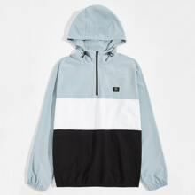 Men Zipper Half Placket Patch Detail Colorblock Jacket