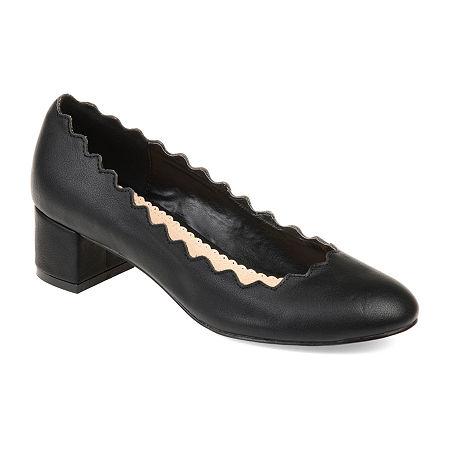 Journee Collection Womens Maybn Pumps Slip-on Round Toe Kitten Heel, 9 Medium, Black