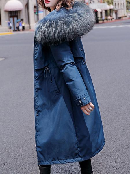 Milanoo Abrigos de parka para mujer Abrigo largo con cordon de manga larga con capucha de piel blanca cruda