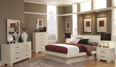 Jessica 202990Q6PCSET 6-Piece Bedroom Set with Queen Platform Bed  Dresser  Mirror  Chest and 2 Nightstands in