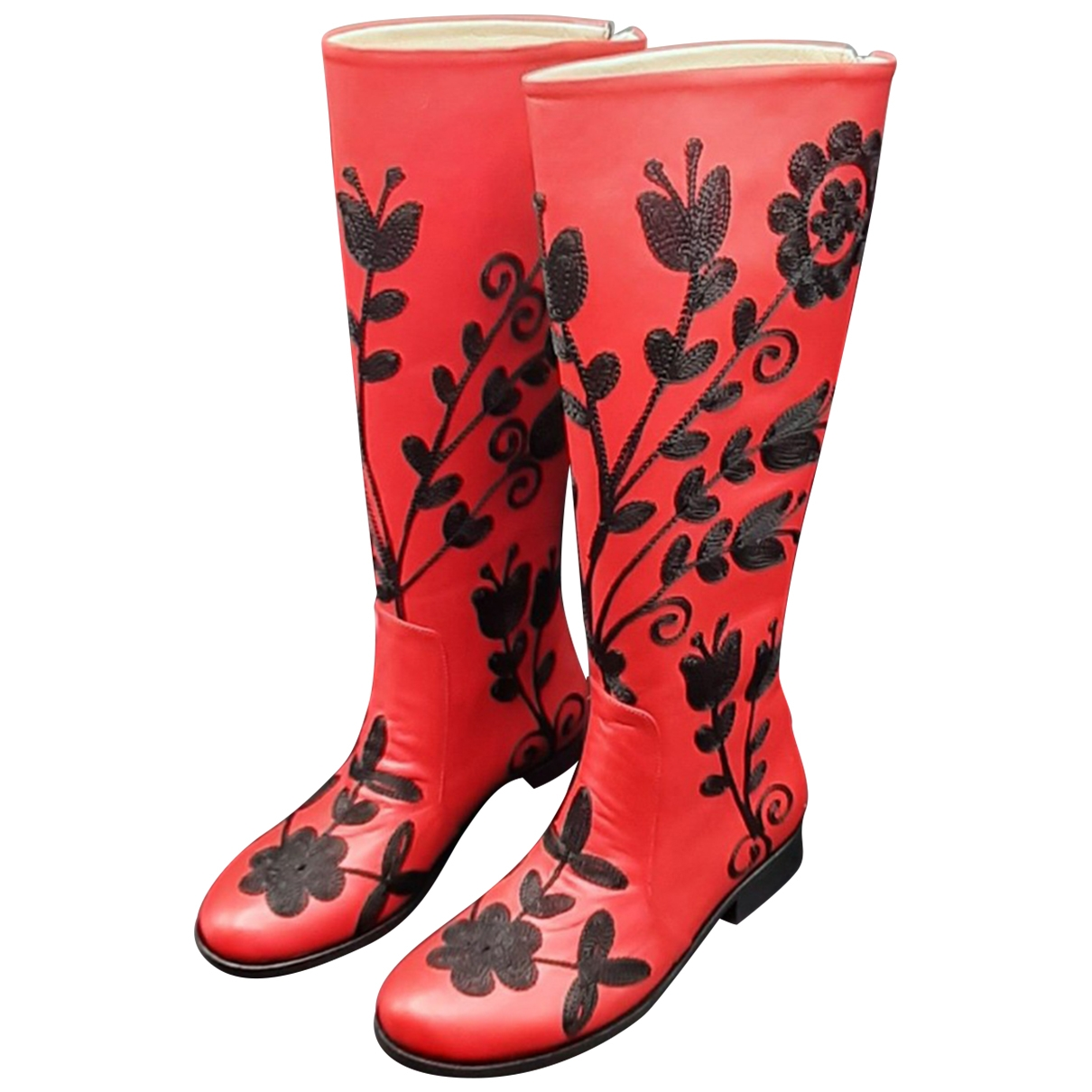 Non Signe / Unsigned \N Stiefel in  Rot Leder