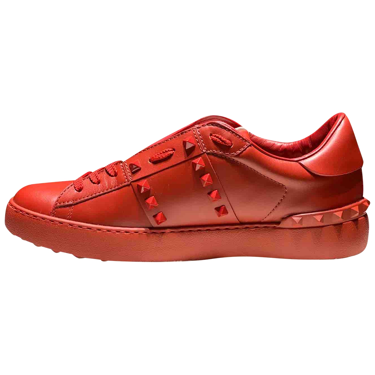 Valentino Garavani Rockstud Red Leather Trainers for Women 41 EU