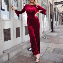 Tied Open Back Bell Sleeve Velvet Jumpsuit