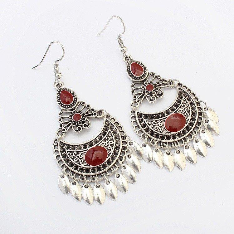 Ethnic Crescent Drop Earrings Fashion Hollow Earrings Retro Long Alloy Leaf Earrings
