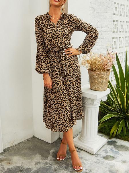 Milanoo Leopard Maxi Dresses Long Sleeves Women Shirt Dress