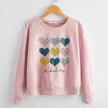 Girls Heart & Slogan Print Drop Shoulder Sweatshirt