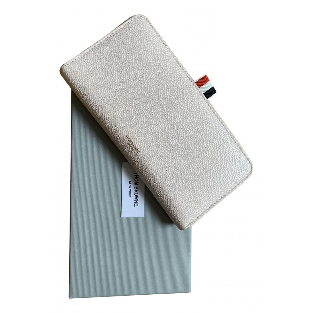Thom Browne - Portefeuille   pour femme en cuir - beige