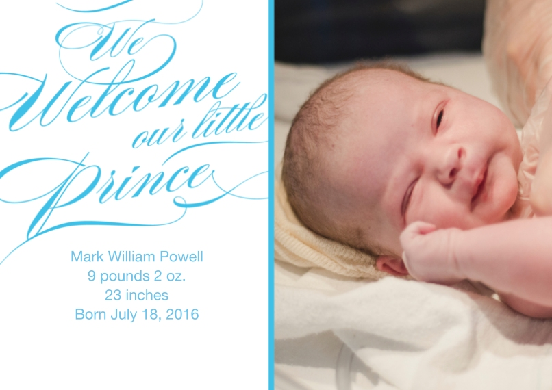 Newborn Flat Matte Photo Paper Cards with Envelopes, 5x7, Card & Stationery -Posh Paper Baby Prince