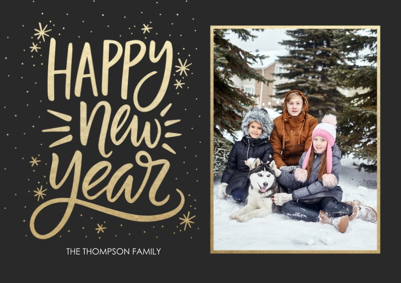 New Years Photo Cards 5x7 Cards, Premium Cardstock 120lb with Scalloped Corners, Card & Stationery -Burst Happy New Year