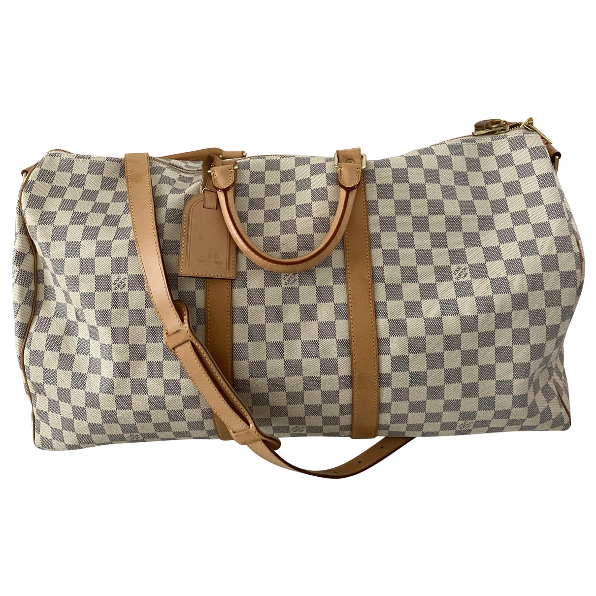 Louis Vuitton - Sac de voyage Keepall pour femme en toile - beige