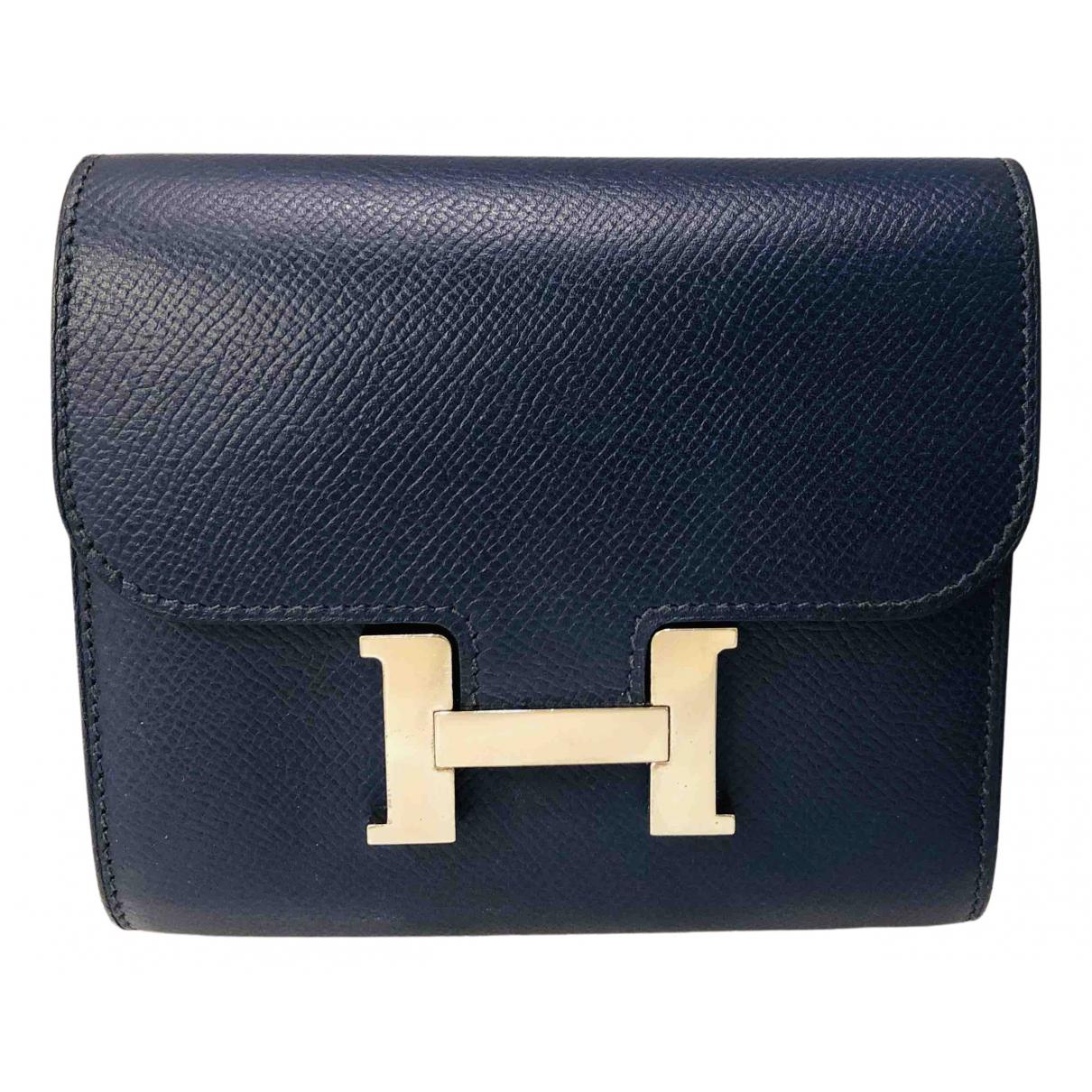 Hermes - Portefeuille Constance pour femme en cuir - marine