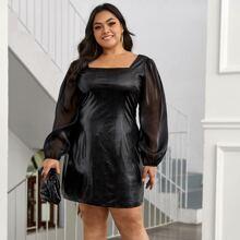 PU Leder Kleid mit Kontrast und Netzstoffaermeln