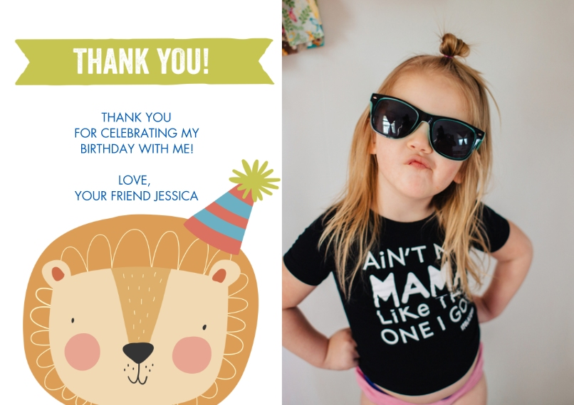 Thank You Cards Flat Matte Photo Paper Cards with Envelopes, 5x7, Card & Stationery -Thank You Lion Hat by Tumbalina