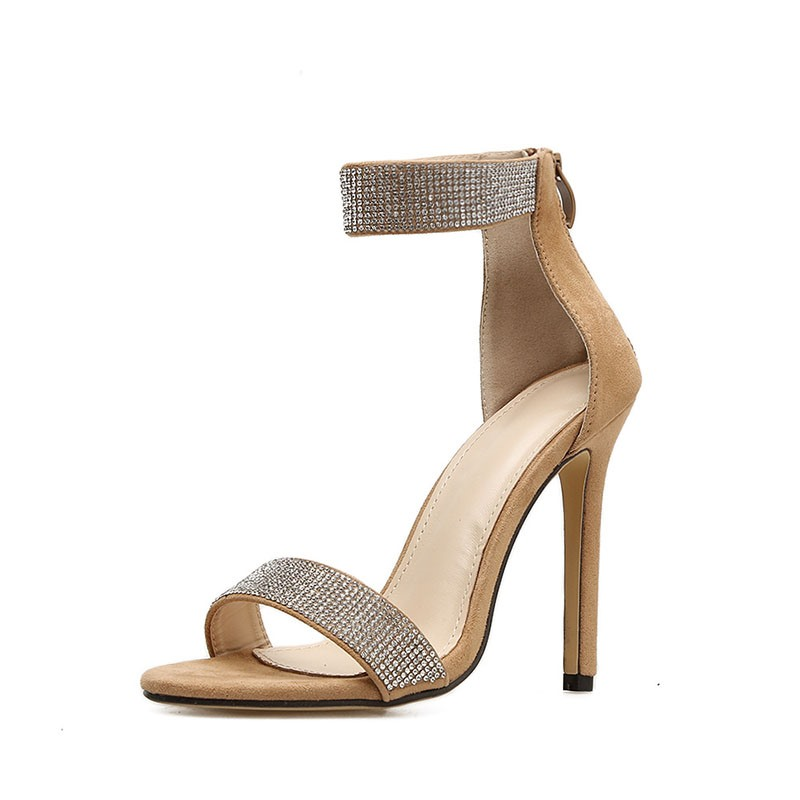 Ericdress Open Toe Covering Stiletto Heel Rhinestone Sandals