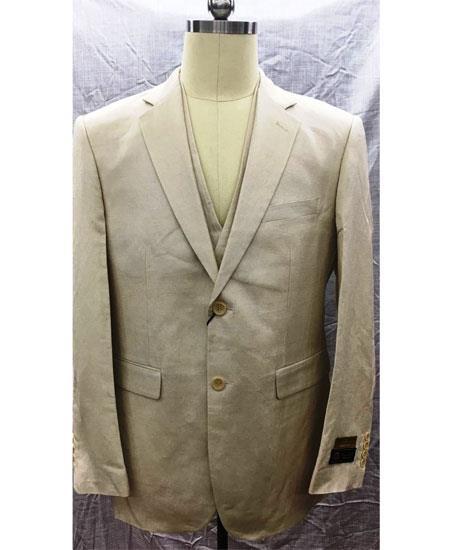 Men's 2 Button Single Breasted Linen Vest Natural Suit