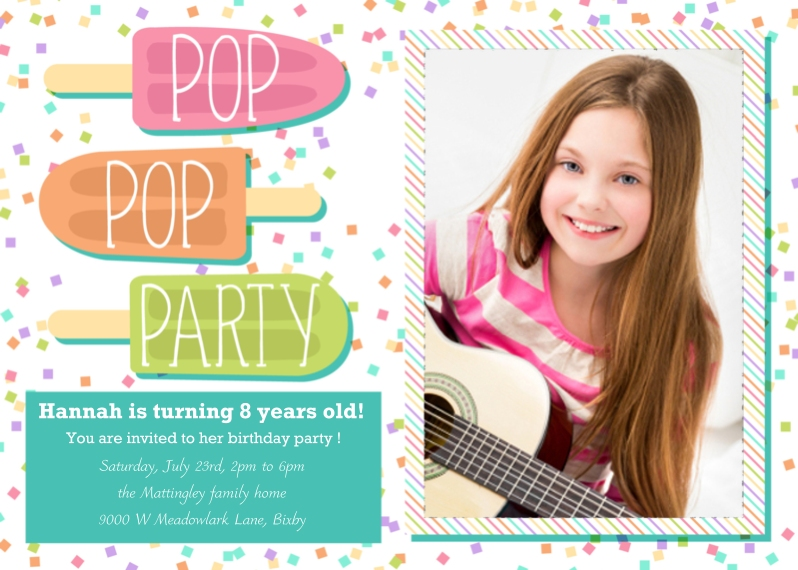 Party Invitations 5x7 Cards, Premium Cardstock 120lb with Scalloped Corners, Card & Stationery -Pop Pop Party!