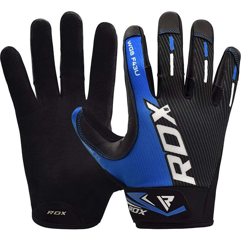 RDX F43 Weightlifting Gloves Short Straps in Lycra Small Blue/Grey/Black