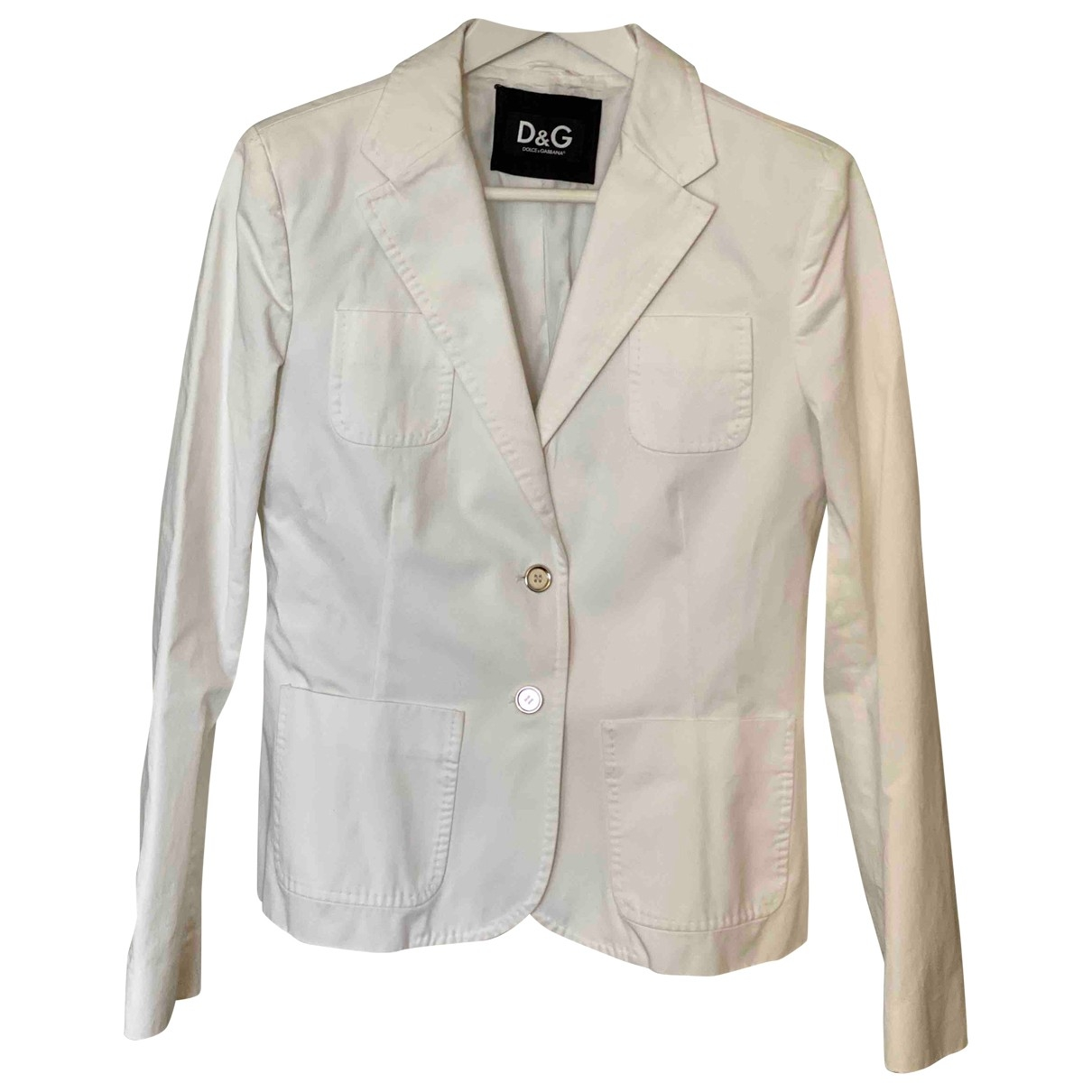 D&g \N White Cotton jacket for Women 46 IT