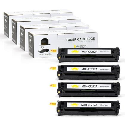 Compatible HP 131A CF212A Yellow Toner Cartridge - Moustache - 4/Pack