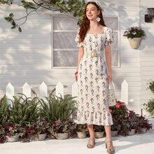 Square Neck Floral Print Ruffle Hem Dress Without Belt