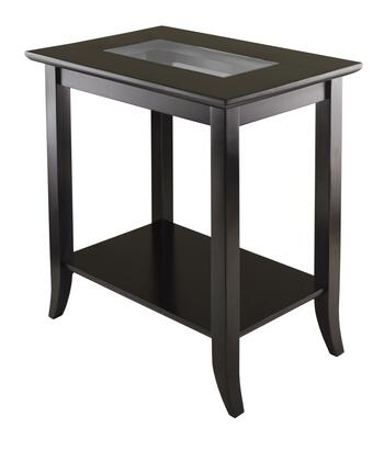 92419 Genoa Rectangular With Glass Top And Shelf End