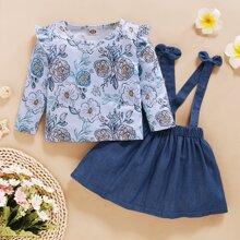 Outfits dos piezas para niña pequeña Lazo Floral Dulce