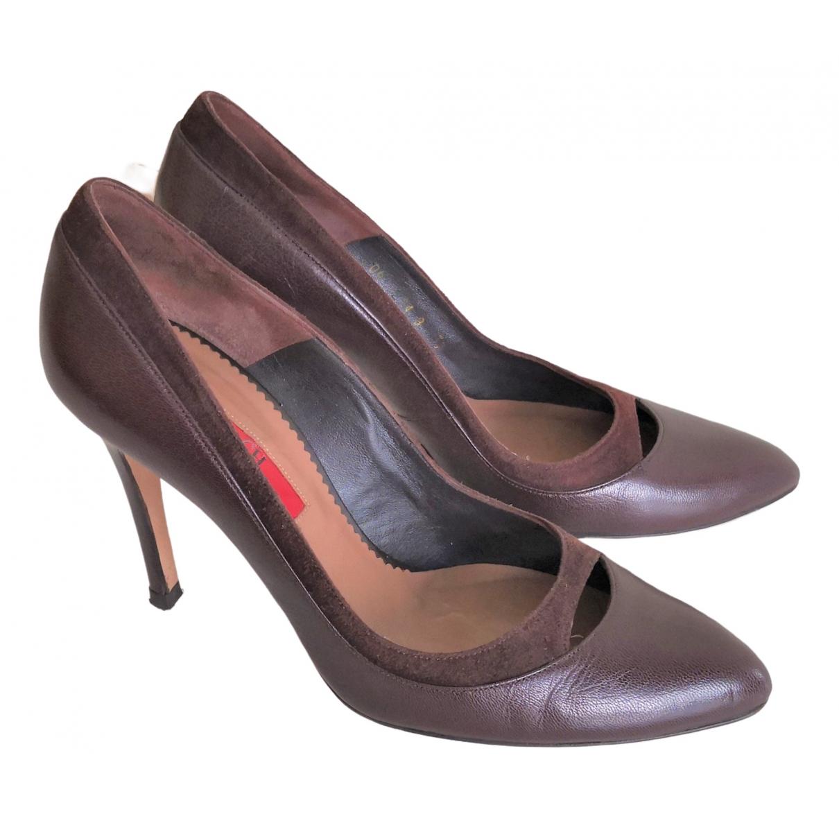 Carolina Herrera - Escarpins   pour femme en cuir - marron