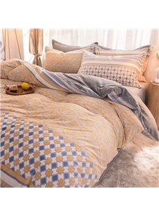 Antistatic Winter Thick Duvet Cover Velvet Warm 4-Piece Fluffy Bedding Sets