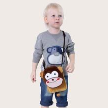 Kids Cartoon Monkey Design Crossbody Bag