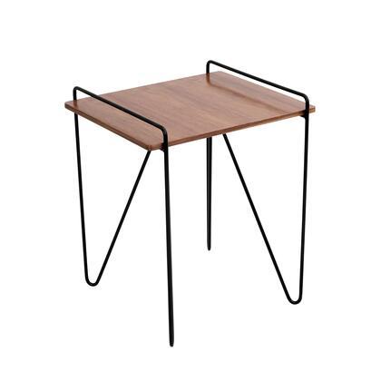 TBE-LOFT WL+BK Loft Mid-century Modern End Table in Walnut and