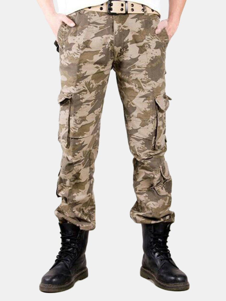 100% Cotton Multi-Pocket Outdoor Camouflage Pants Large Size Overalls for Men
